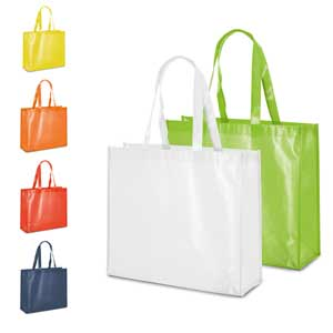 Bag. Non-woven laminated: 110 g/m². Shiny laminated. 60 cm handles. 400 x 360 x 120 mm