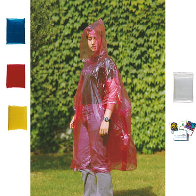 Αδιάβροχα - Foldable plastic raincoat with attached hood in hermetic bag.