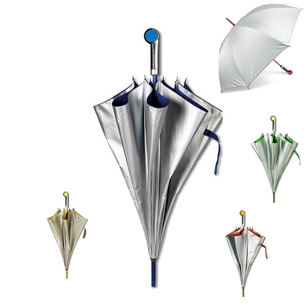 Ομπρέλες - Satin silver umbrella with contrasted colourful lining and coloured aluminium handle with matching plate for logo imprint.